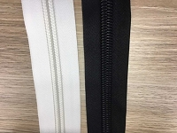 COIL #5 Coil Chain Black Or White ZIPPER  1 1/4