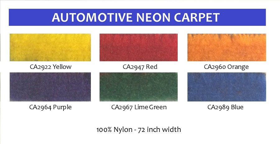 "NEON 72"" wide automotive carpet 100% NYLON"