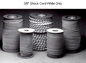 "3/8""  Marine Grade Nylon Shock Cord ""Bungi"" Cord - WHITE 100 FOOT ROLL"
